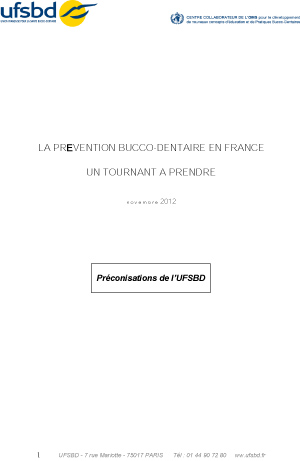 Dossier UFSBD - La Prévention bucco-dentaire en France - un tournant à p -1 copie
