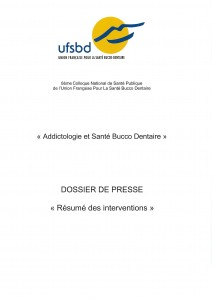 DOSSIER DE PRESSE miniature ADDICTOLOGIE ET SANTE BUCCO DENTAIRE