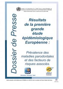 DOSSIER DE PRESSE miniature RESULTATS ETUDE EPIDEMIOLOGIQUE EUROPEENNE prévalence des maladies parodontales